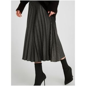 Zara Woman Navy Polka-Dot Pleated Midi Skirt S